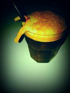 Ginger black shake Shaked coffee espresso Ginger ale Cinnamon Orange twist