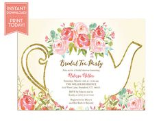 A baby is brewing baby shower tea party invitation - garden tea party - birthday - high tea invite - bridal tea - printable - Tea Party Invitations, Baby Shower Invitations, Tea Party Baby Shower, Shower Baby, Tea Party Birthday, Baby Birthday, Birthday Ideas, Little Rose, Tea Parties