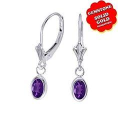 0.73 Ct Oval Cut Purple Amethyst 14k White Gold Bezel Lever back Earrings by JewelryHub on Opensky