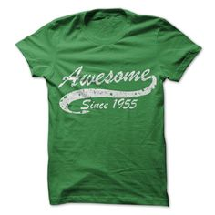 Awesome since 1955 T Shirts, Hoodies. Check price ==► https://www.sunfrog.com//Awesome-since-1955.html?41382 $19