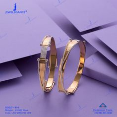 Plain Gold Bangles jewellery for Women by jewelegance. ✔ Certified Hallmark Premium Gold Jewellery At Best Price Bracelets Design, Gold Bangles Design, Jewelry Design Earrings, Gold Earrings Designs, Gold Jewellery Design, Designer Jewellery, Unique Earrings, Gold Jewelry, The Bangles
