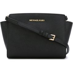 Michael Michael Kors Selma Saffiano Messenger Bag ($315) ❤ liked on Polyvore featuring bags, messenger bags, black, michael michael kors, crossbody messenger bag, cross body and crossbody bags