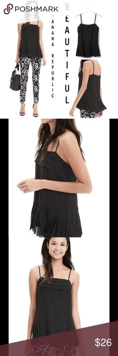 """Gorgeous Pleated Chiffon Cami ! ❤️ ❤️ This is truly """" Gorgeous """" !!!! Black & lined in black ! All 100% polyester ! 5 inch pleats at bottom all the way around ! Relaxed fit ! Hits at low hip ! Adjustable spaghetti straps ! 3 tiers at top all the way around ! My word this is beautiful ! ❤️ Banana Republic Tops"""
