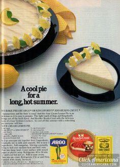 No-bake sour cream lemon pie - Click Americana Sour Cream Lemon Pie Recipe, Lemon Cream Cheese Pie, Cream Cheeses, Retro Recipes, Vintage Recipes, Vintage Cooking, Vintage Food, Vintage Ads, 80s Food
