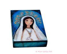 Nuestra Señora de Lourdes Rosario  Giclee imprime montado