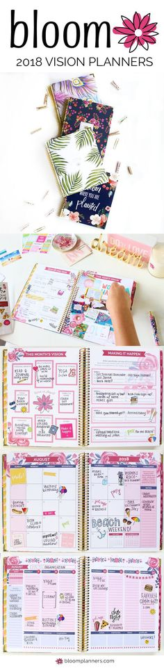 bloom's Vision Planners are designed to help you make all of your dreams and visions for this year become a reality! This unique, guided planning style has helped thousands maintain a more balanced, fulfilling lifestyle! 2018 Calendar Year versions (January 2018 - December 2018) are available now at bloomplanners.com!