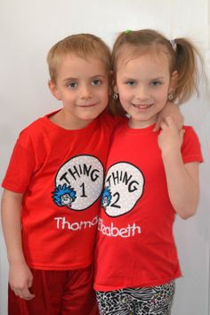 Thing 1 and Thing 2 Embroidered Shirts  Set of by TwinspiredDesign, $36.00