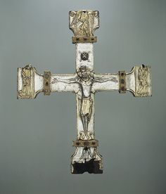 Processional Cross, late 11th–early 12th century  Spanish; Made in Asturias  Silver, partially gilt on wood core, carved gems, jewels
