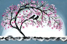 grey painting by SheerJoy.etsy.com  Cherry blossom with 2 birds - such a graceful artwork  A romantic Japanese style gift.  Love the neutral tones in this painting  The canvas comes from Finland, and the artwork is from Australia