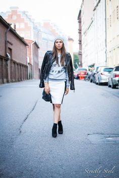 leather jacket greay sweat shirt creme de la creme ootd outfit pencil skirt beanie street style