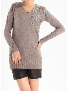 Beaded Fur Knit Sweater