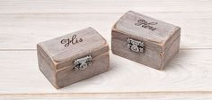 His and Hers Ring Bearer Boxes Ring Holder by InesesWeddingGallery