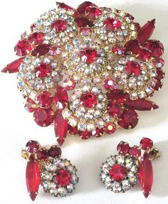 JULIANA Book Piece Ravishing Red & Aurora Borealis Rhinestone Pin Earring Set | eBay