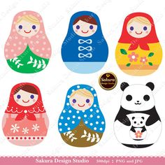 Matryoshka Russian Doll Digital Scrapbook Paper Clipart, Paper Crafts, Cards