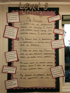 Level 3 piece of writing as a display for year 2 so they can see what level writing they are aiming for. Children annotate the writing to identify 'what makes a level 3 piece of writing'. Change the piece of writing termly to suit the topic/unit of work.