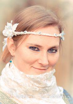 Rustic Woodland Bridal Silk Crochet Head Wreath by DeidreDreams, $100.00