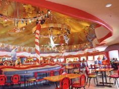 Circus McGurkus Cafe at Suess Landing in Universal Islands of Adventure is a quiet spot to take a break or have lunch.