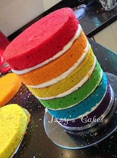 Naked Rainbow Cake by Izzy's Cakes  https://www.facebook.com/Izzyscakes/photos/a.219187438145872.56348.166720483392568/1049767765087831/?type=3&theater