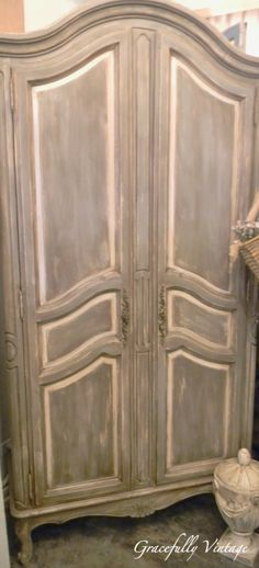 Weathered French Grey Armoire Paint finish for bedroom furniture
