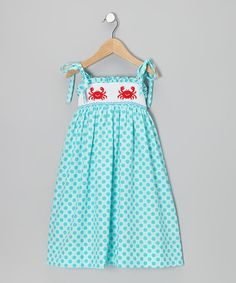 Take a look at this Turquoise Polka Dot Crab Smocked Sundress - Toddler & Girls by Velani Classics on #zulily today!