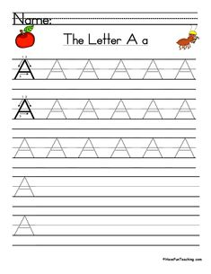 UsingLetter A Handwriting Practice Worksheet, students trace and then write the letter A in order build their Zaner-Bloser style print handwriting skills. Print Handwriting, Handwriting Practice Worksheets, Teaching Handwriting, Improve Your Handwriting, Handwriting Analysis, Have Fun Teaching, Learning To Write, Teaching Reading, Writing Words