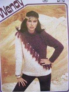 eb907b59c wendy knitting pattern 2030 ladies sweater with fringe bust 32 - 38