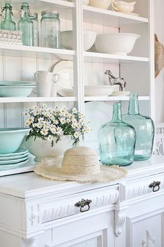 Decorating with Aqua Vases - Beneath My Heart