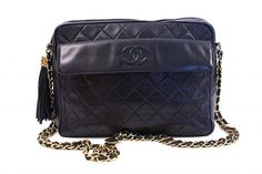 e530492a929a RARE Vintage CHANEL Navy Camera Bag at Rice and Beans Vintage Vintage  Chanel Bag