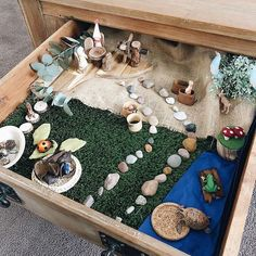 A drawer transformed into small World Play Teaching Kids Respect, Happy Children's Day, Train Table, Small World Play, Sensory Boards, Animal Room, World Crafts, Sensory Play, Sensory Table