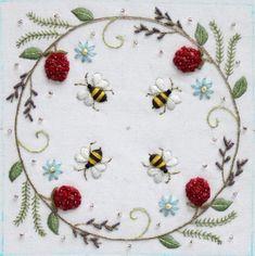 Lovely Stitchery- Bee and Berry Biscornu