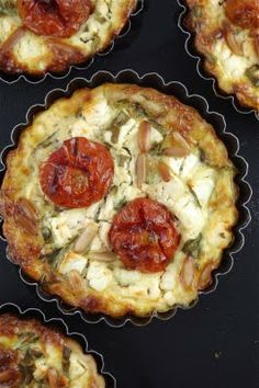 savory roasted tomato, feta, rocket quiches