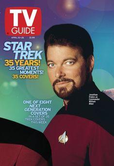 Star Trek TV Guide April 2002 Commander William Riker Cover Celebrating 35 Years of Star Trek with 3 Watch Star Trek, Star Trek Tv, Star Trek Ships, Star Wars, Akira, Star Trek Poster, Jonathan Frakes, Star Trek Reboot, History Of Television