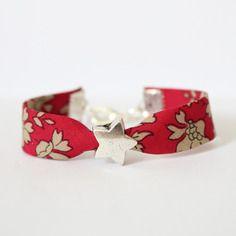 Bracelet liberty enfant fille - taille 4/7 ans - rouge beige - étoile