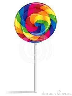 Bright rainbow lollipop | ... illustration of a big swirly lollipop in bright rainbow colors