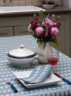 Ochre & Ocre Organic Cotton Tablecloth - Isabella: Isabella Blue