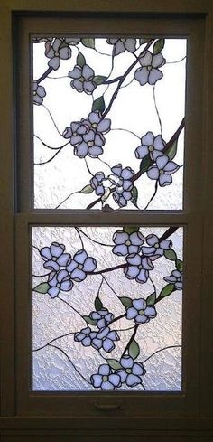 Hand Crafted Stained Glass Windows - Dogwood Flower Design by Terraza Stained Glass | CustomMade.com