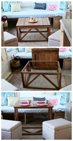 Diy pallet bar double size bed modern white bed leather coffee table dinner with ana white Coffee Table Convert To Dining Table, Table Cafe, Coffee Table Plans, Diy Dining Table, Small Coffee Table, Coffee Ideas, Wood Table, Dining Room, Diy Table Top
