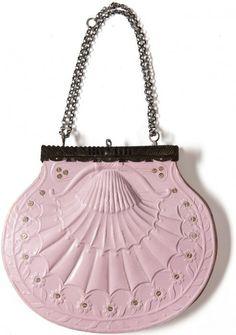 Cardboard and sequin handbag, French, c. 1820.
