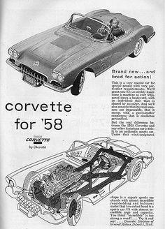 1958 ad for the 1958 Chevrolet Corvette convertible sports coupe General Motors 1958 Corvette, Chevrolet Corvette, Classic Motors, Classic Cars, Vintage Advertisements, Vintage Ads, Cutaway, Chevy, Automobile