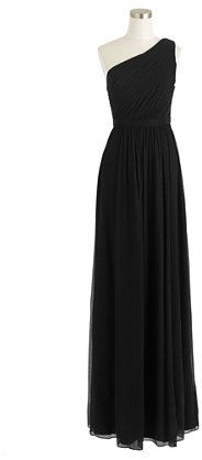 ADDITIONAL 25% OFF WITH CODE SHOPNOW AT JCREW Kylie long dress in silk chiffon #jcrew #black #gown #dress #silk #chiffon #bridesmaid #wedding #oneshoulder #sale