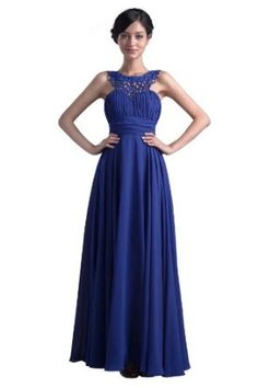 Dresstells Women s Pretty Halter Long Royal Blue Chiffon Bridesmaid Dress  Blue Chiffon Dresses, Prom Dresses b366644ccf