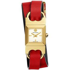 Tory Burch Double-T Link Watch, Navy/Red/Gold-Tone, 18 X 18 Mm ($295) ❤ liked on Polyvore featuring jewelry, watches, navy blue watches, navy jewelry, leather watches, red watches and leather wrist watch