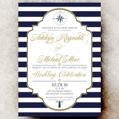 Nautical Wedding Invitation straight lines - Navy Blue gold wedding invitation, sea invitation, printable wedding invitation