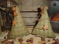 Primitive Christmas Tree Ornies Set of 2 | eBay