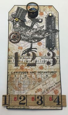 Tim Holtz style tag with rubber stamping