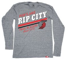 Portland Trail Blazers 'Rip City' Pride Comfy Tri-Blend Long Sleeve Tee - Grey