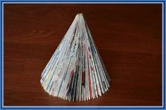 Final Recycled Magazine Christmas Tree Craft