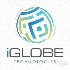 Logo for sale: circular design of a maze or Qr code design.
