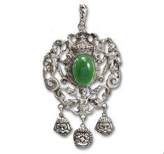 Peruzzi Silver Chrysoprase Victorian Necklace Gothic by boylerpf, $275.00