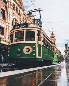 """Melbourne - Chris Cincotta on Instagram: """"Even on the rainiest days, this city shines!  Especially the old city circle tram in this Fantastic shot by @clint.images!  They just add…"""""""